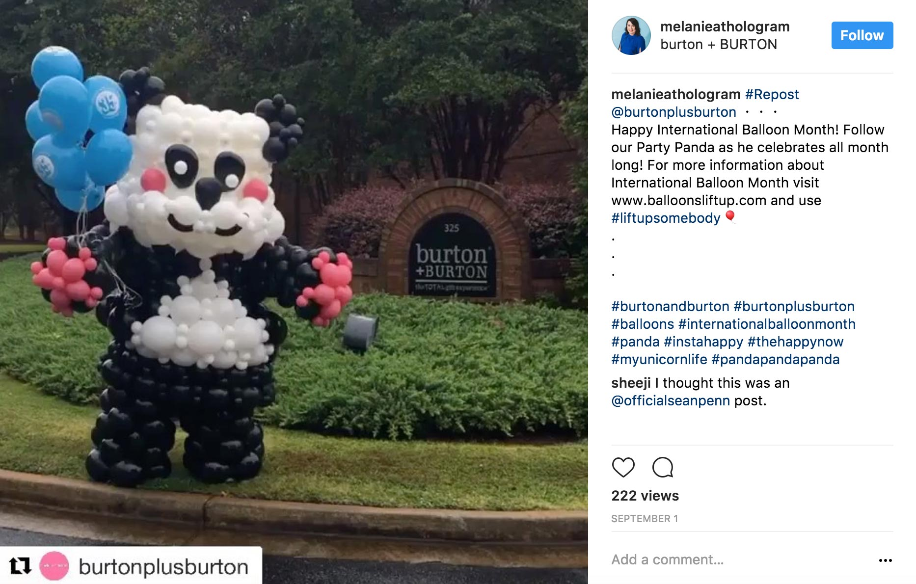 For their Giant Panda Balloon Character that was seen holding signs to promote International Balloon Month all over town.